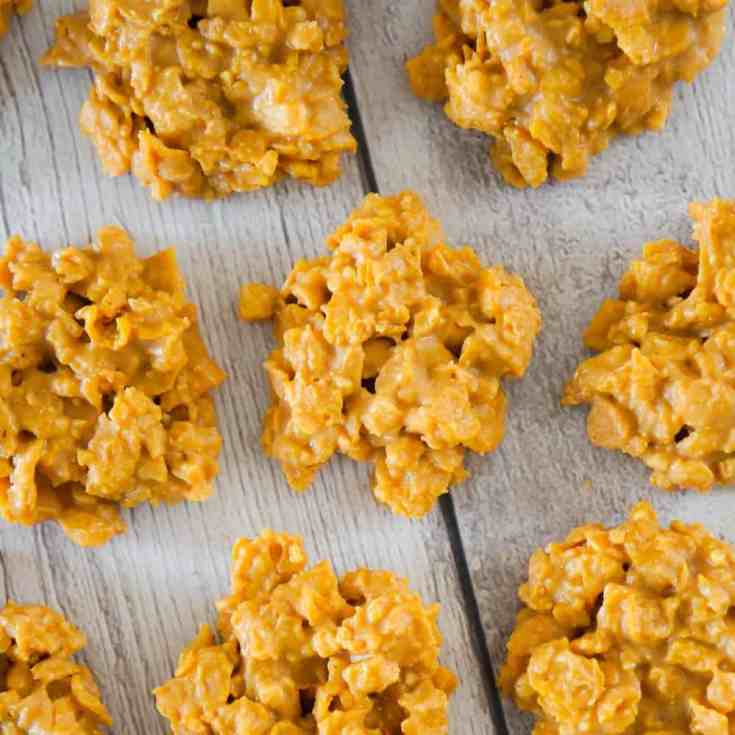 No Bake Peanut Butter Cookies are a quick and easy dessert recipe perfect for when you don't feel like turning on the oven. These no bake cookies are loaded with cornflakes, salted peanuts and Reese's Peanut Butter Chips.