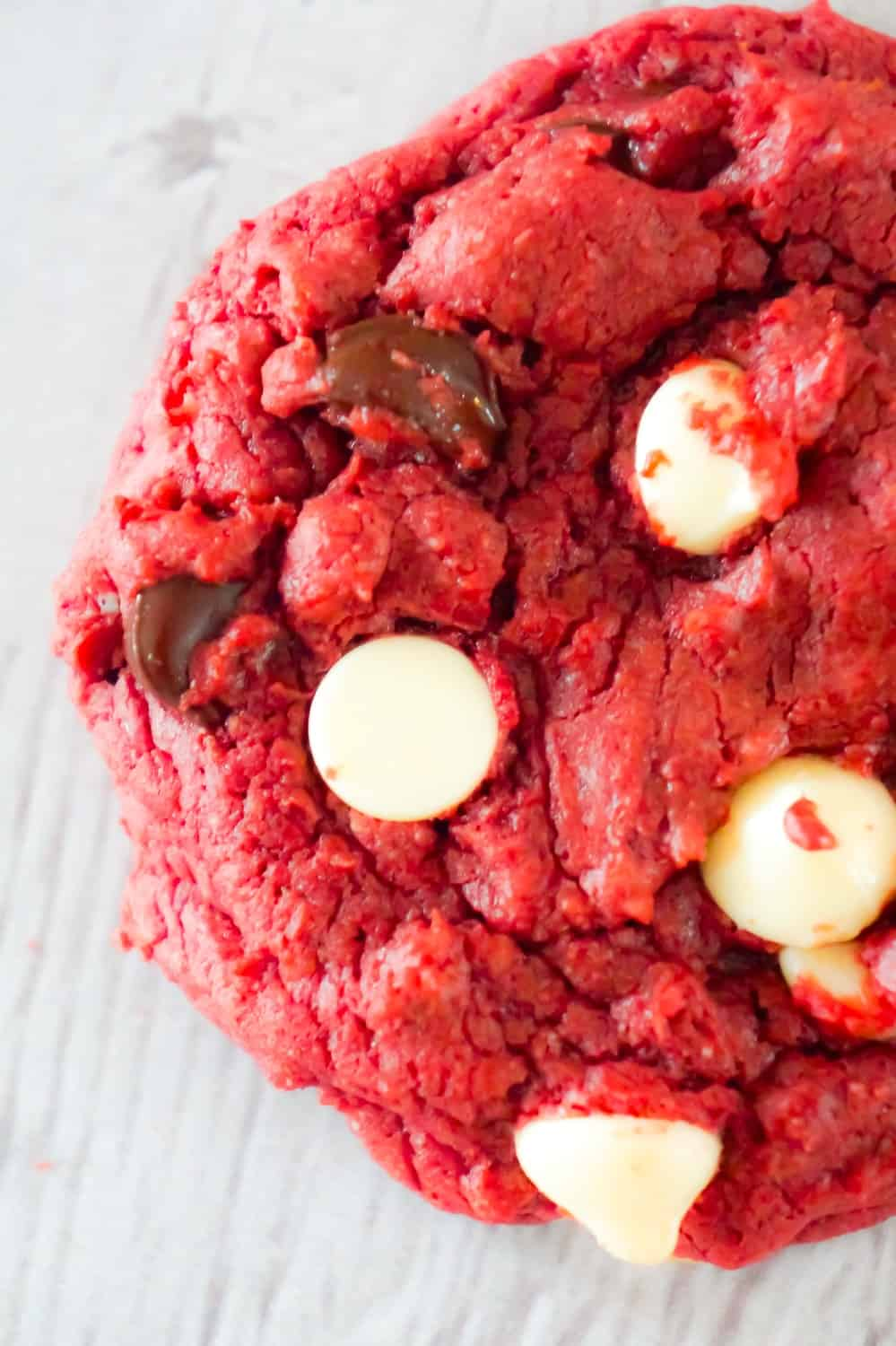 Red Velvet Cake Mix Cookies are an easy dessert recipe perfect for Valentine's day. These chewy red velvet cookies are loaded with semi-sweet and white chocolate chips.