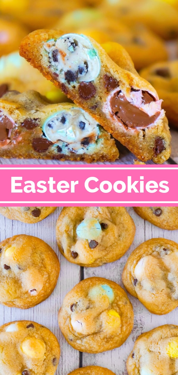 Easter Cookies are delicious chocolate chip cookies loaded with milk chocolate and cookies and cream Hershey's Eggies. These chewy chocolate chip cookies with mini eggs are made with butter flavoured Crisco.