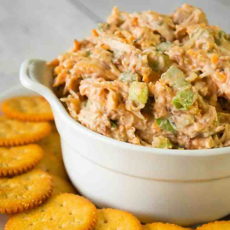 BBQ Chicken Dip is a delicious cold party dip recipe perfect for serving with Ritz Crackers. This flavourful dip is loaded with shredded chicken, crumbled bacon, cheese and BBQ sauce.