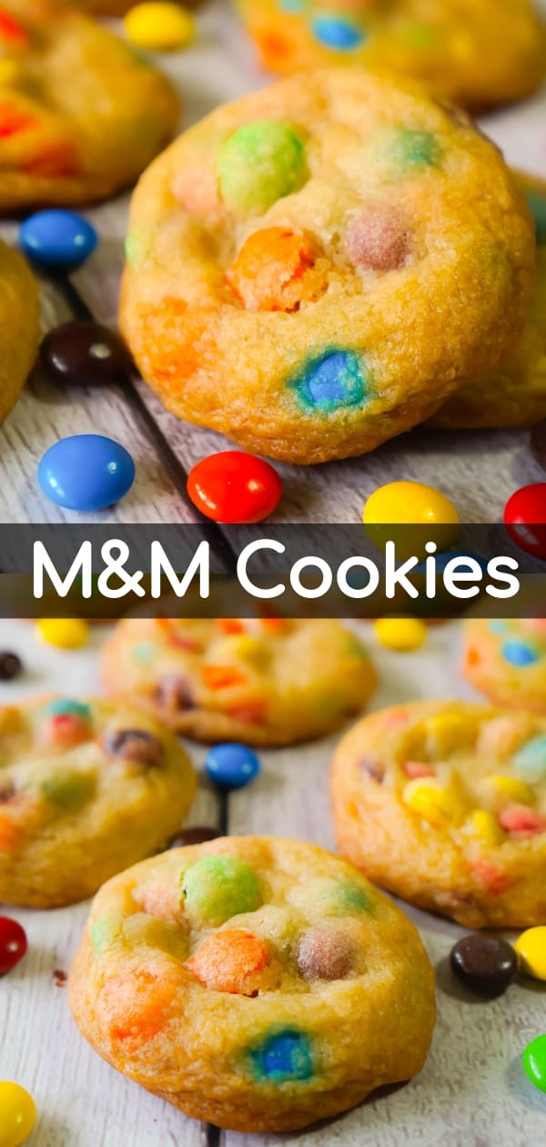 M&M cookies are soft, chewy and loaded with regular M&Ms and mini M&Ms. These delicious homemade cookies will please both kids and adults.