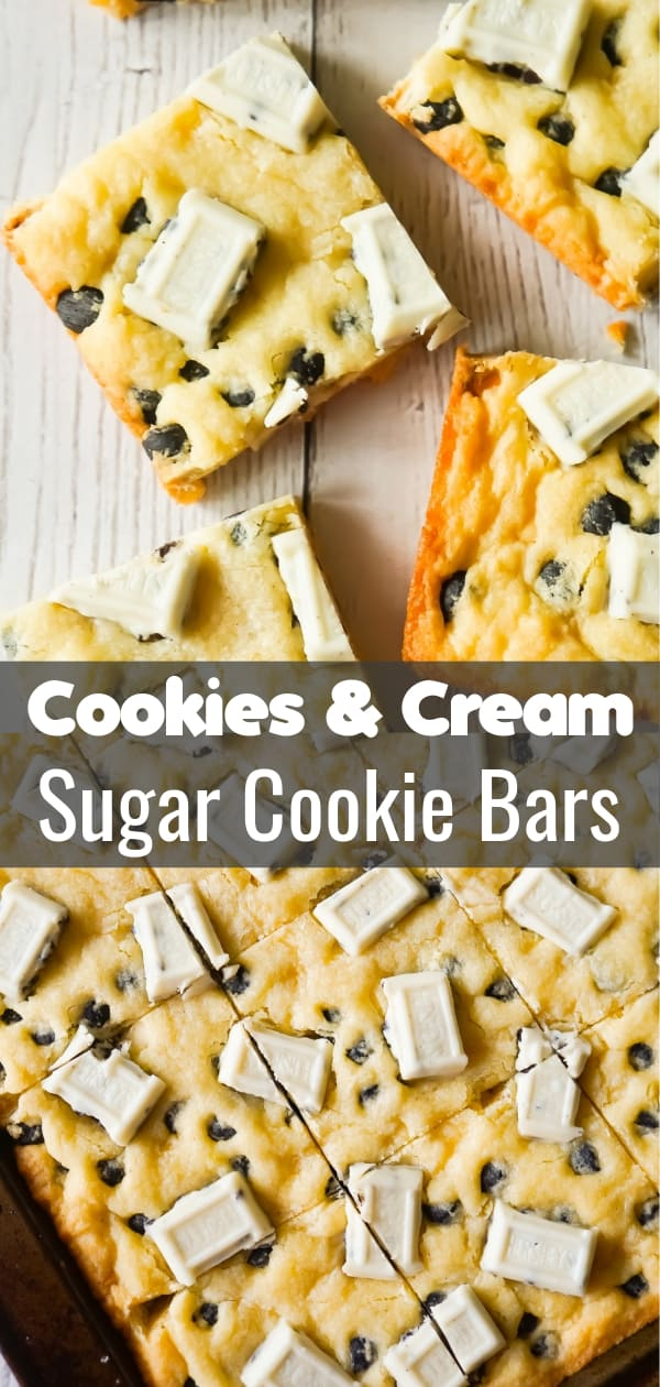 Cookies and Cream Sugar Cookie Bars are chewy sugar cookies made with vanilla pudding mix and loaded with Hershey's Cookies 'n' Creme baking bits and snack size Hershey's Cookies 'n' Creme bars.