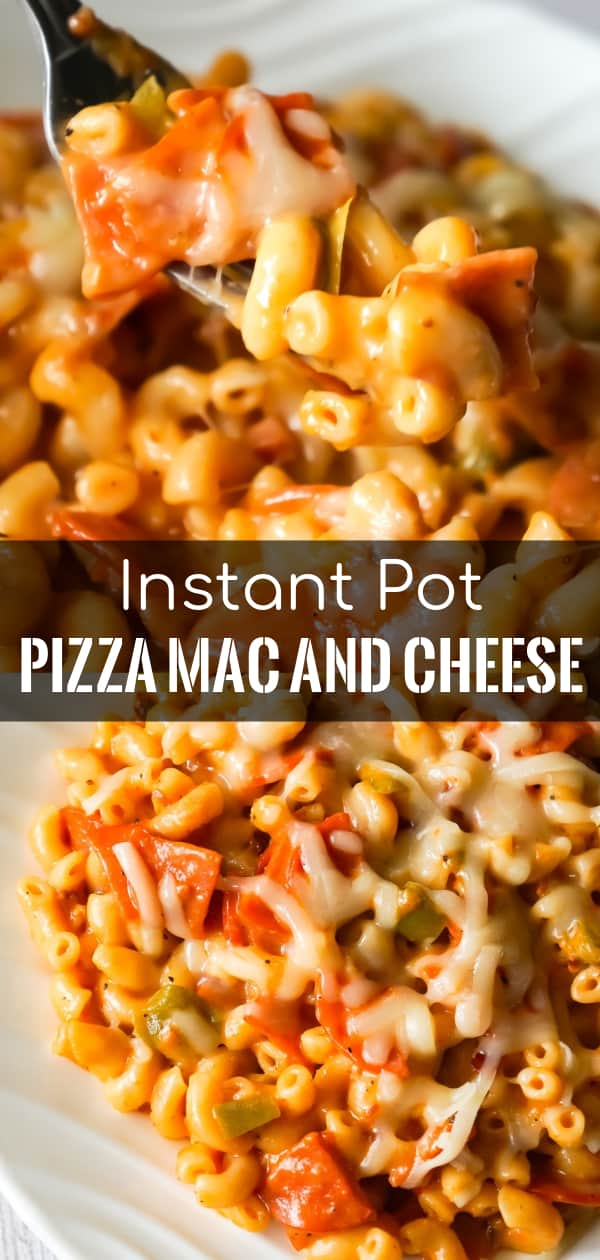 Instant Pot Pizza Mac and Cheese is a delicious pressure cooker pasta recipe loaded with pepperoni, green peppers, crumbled bacon and mozzarella cheese.