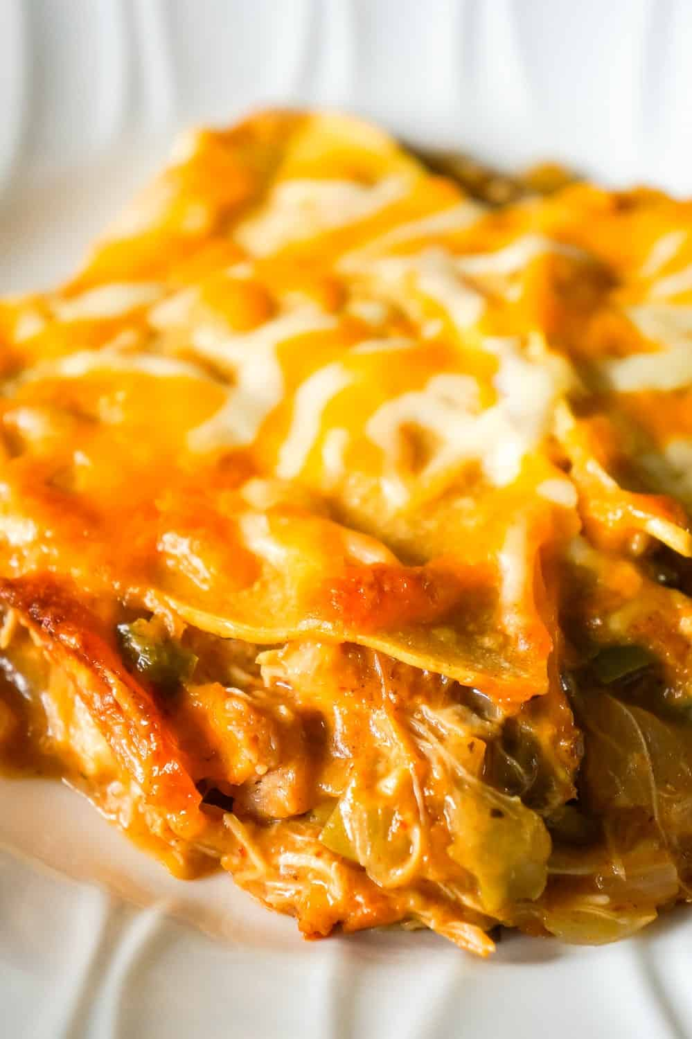 King Ranch Chicken Casserole is a creamy chicken casserole loaded with green peppers, chopped green chilies and layers of corn tortillas and cheese.