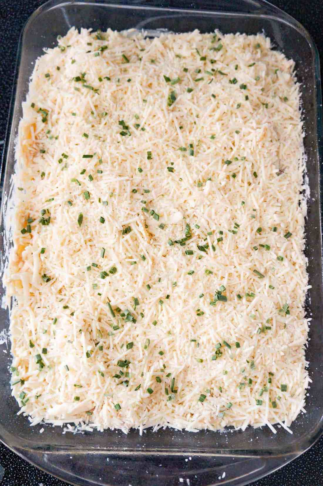 shredded mozzarella, Parmesan and chopped chives on top of turkey tetrazzini before baking