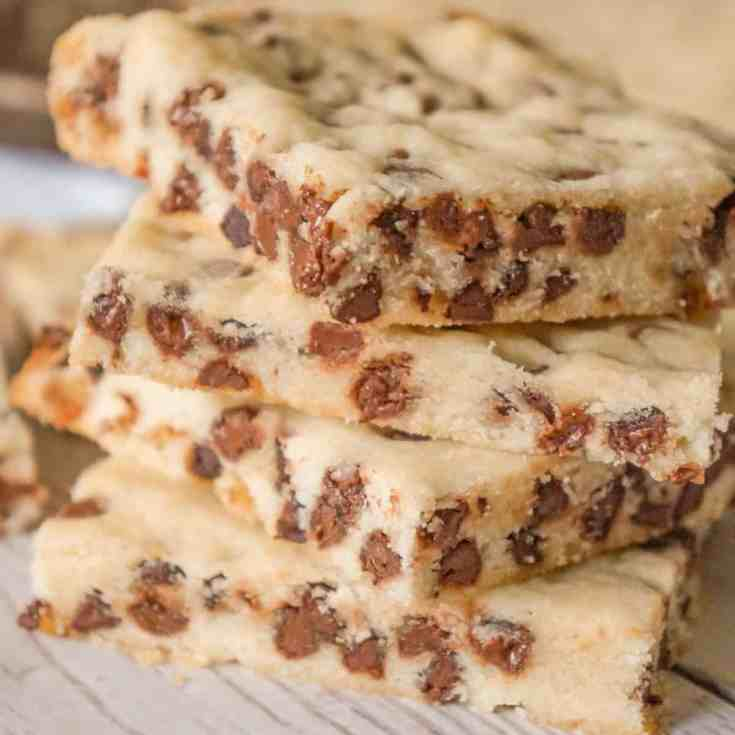 Chocolate Chip Shortbread Cookie Bars are an easy cookie bar recipe perfect for Christmas or any other occasion.