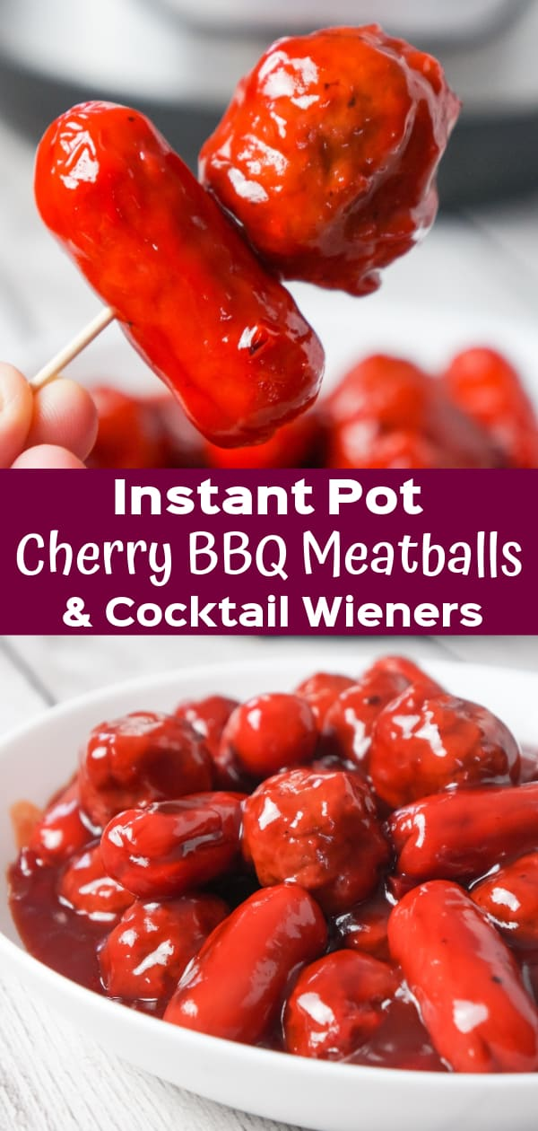 Instant Pot Cherry BBQ Meatballs and Cocktail Wieners are a delicous party snack made with cherry pie filling, Sweet Baby Ray's BBQ sauce and Thai sweet chili sauce.