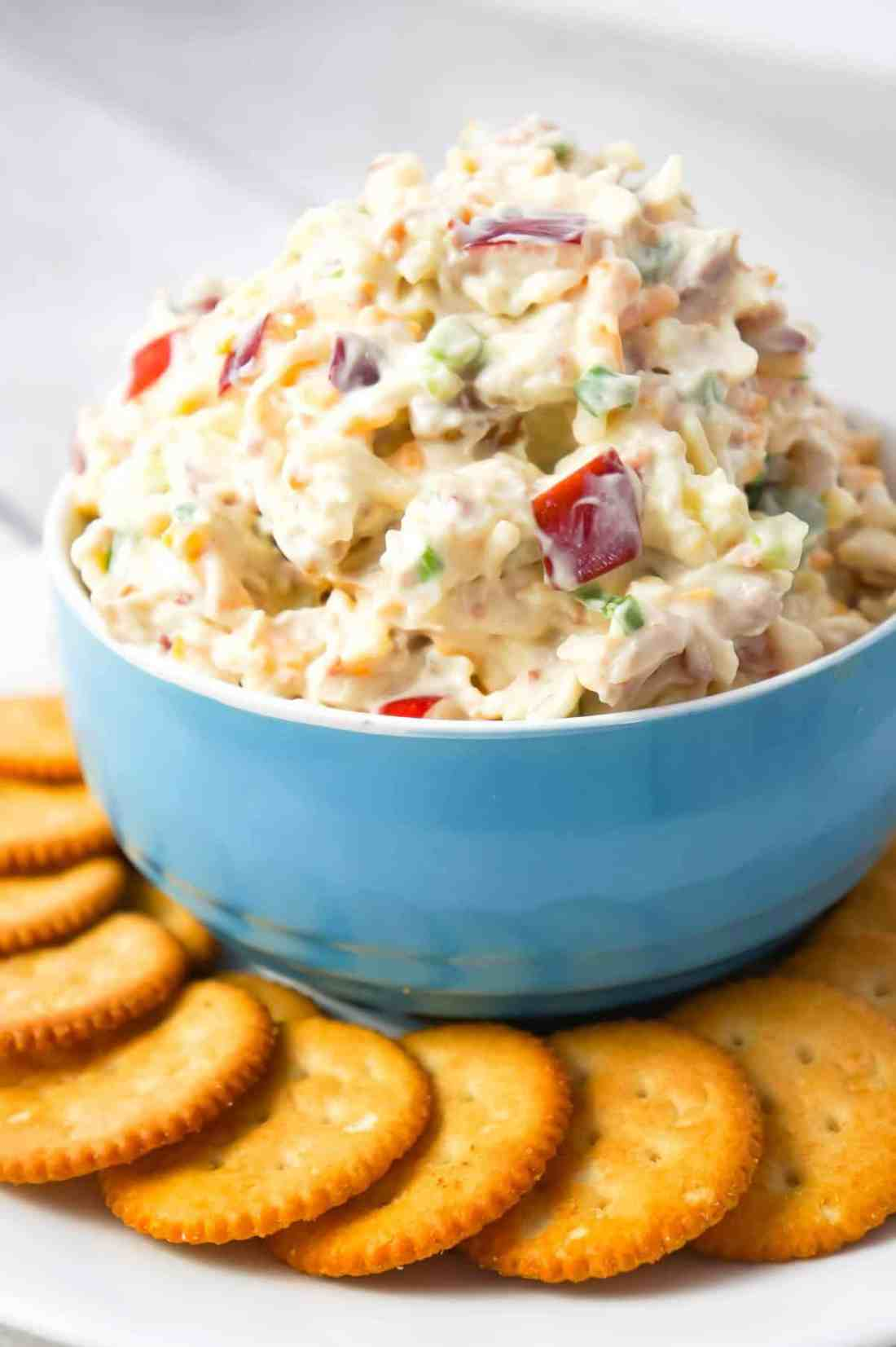 Bacon Apple Cheddar Dip is an easy cold party dip recipe loaded with diced apples, crumbled bacon, chopped walnuts, green onions and shredded cheddar cheese.