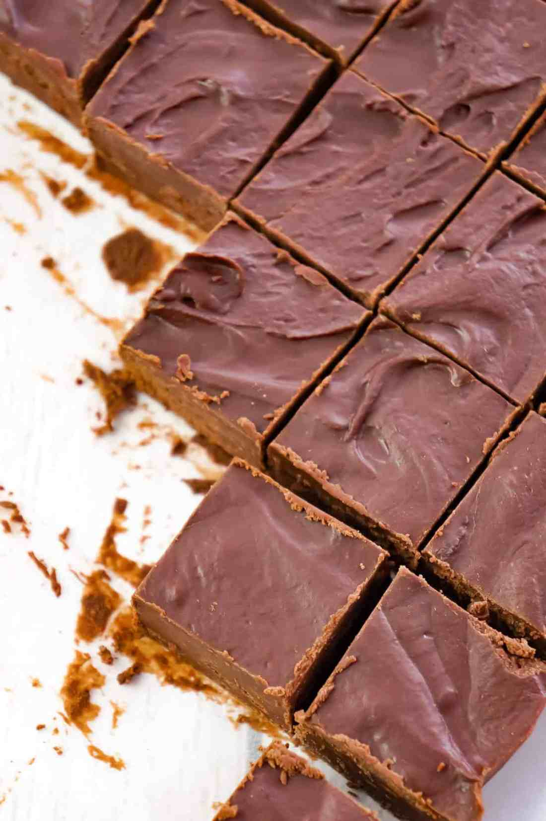 Easy Chocolate Fudge is a simple microwave fudge recipe using semi-sweet chocolate chips and chocolate frosting.