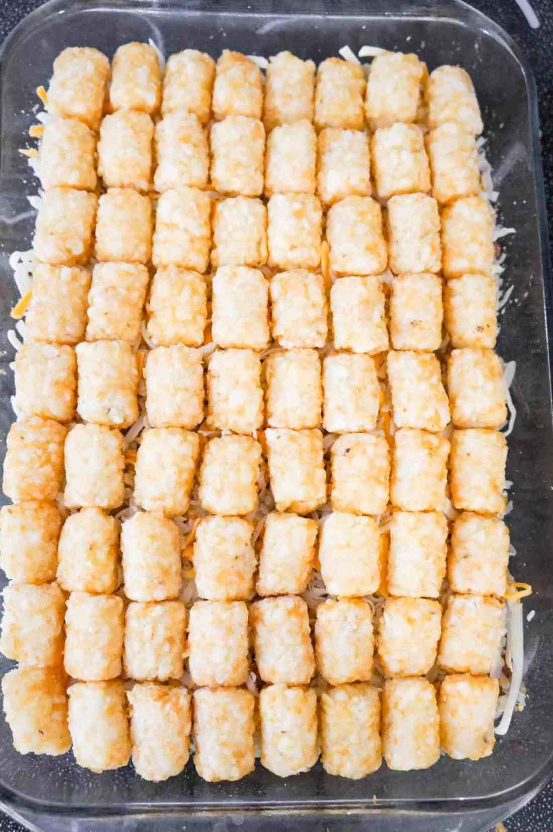 tater tot casserole before baking
