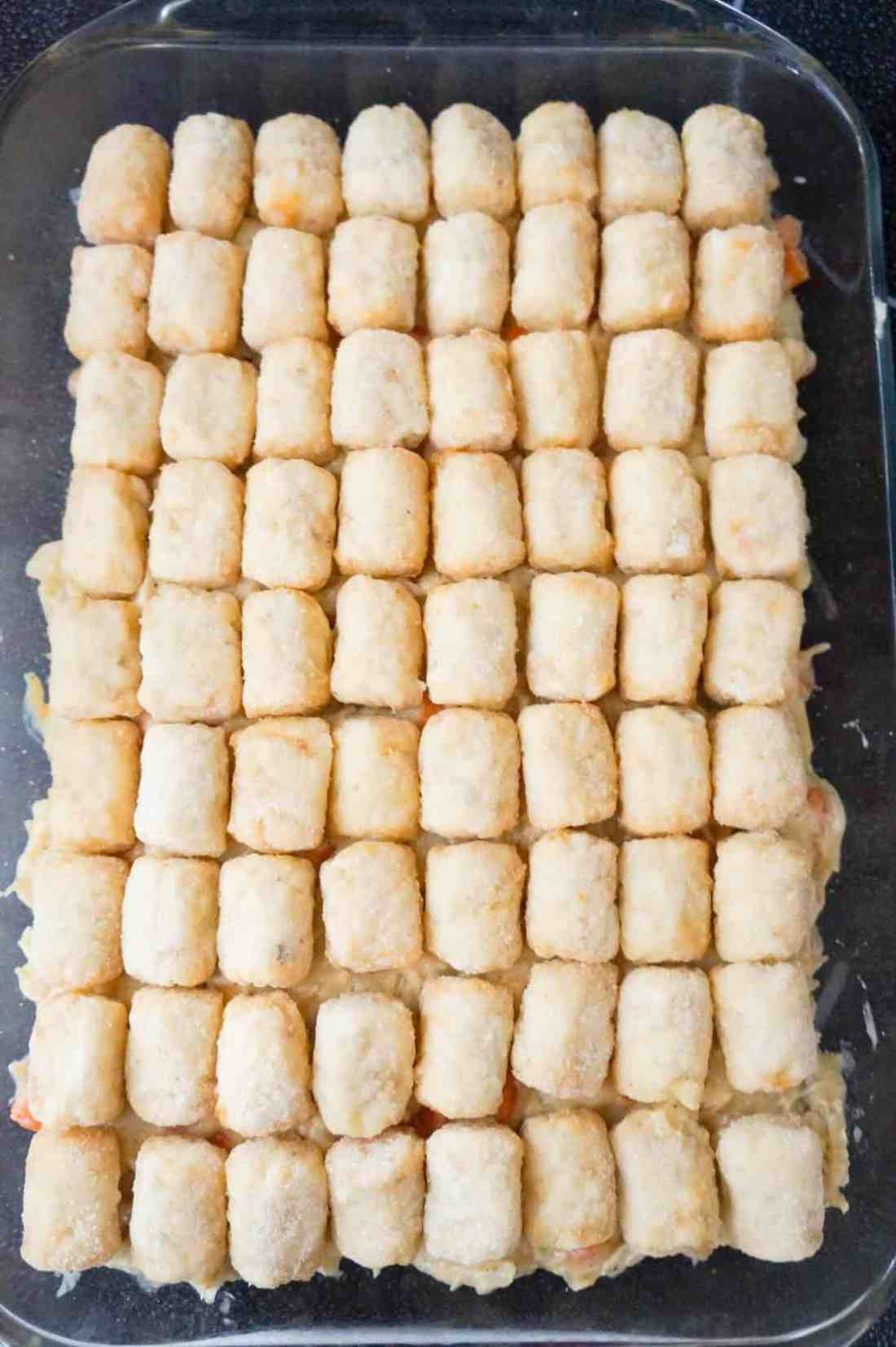 frozen tater tots on top of chicken pot pie casserole