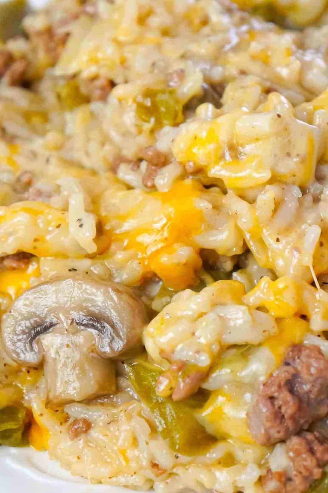 Instant Pot Philly Cheese Steak Ground Beef and Rice is an easy ground beef dinner recipe loaded with long grain white rice, green peppers, onions, mushrooms and shredded cheese.