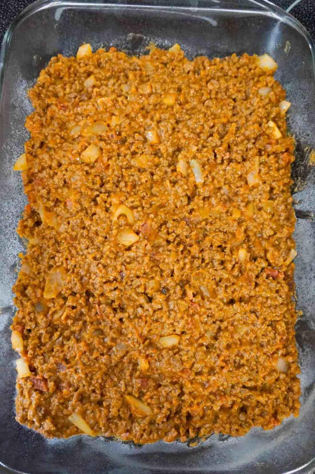ground beef mixture in a 9 x 13 inch baking dish