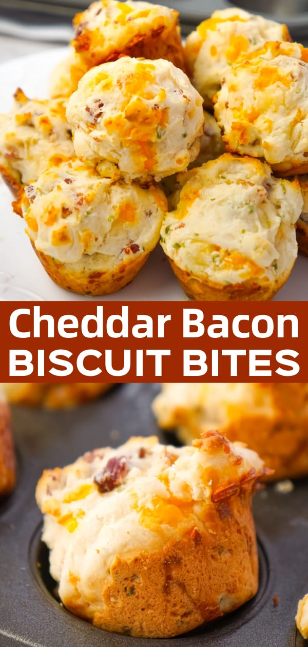 Cheddar Bacon Biscuit Bites are tasty little biscuits made with Bisquick, cheddar cheese and crumbled bacon and baked in mini muffin tins.