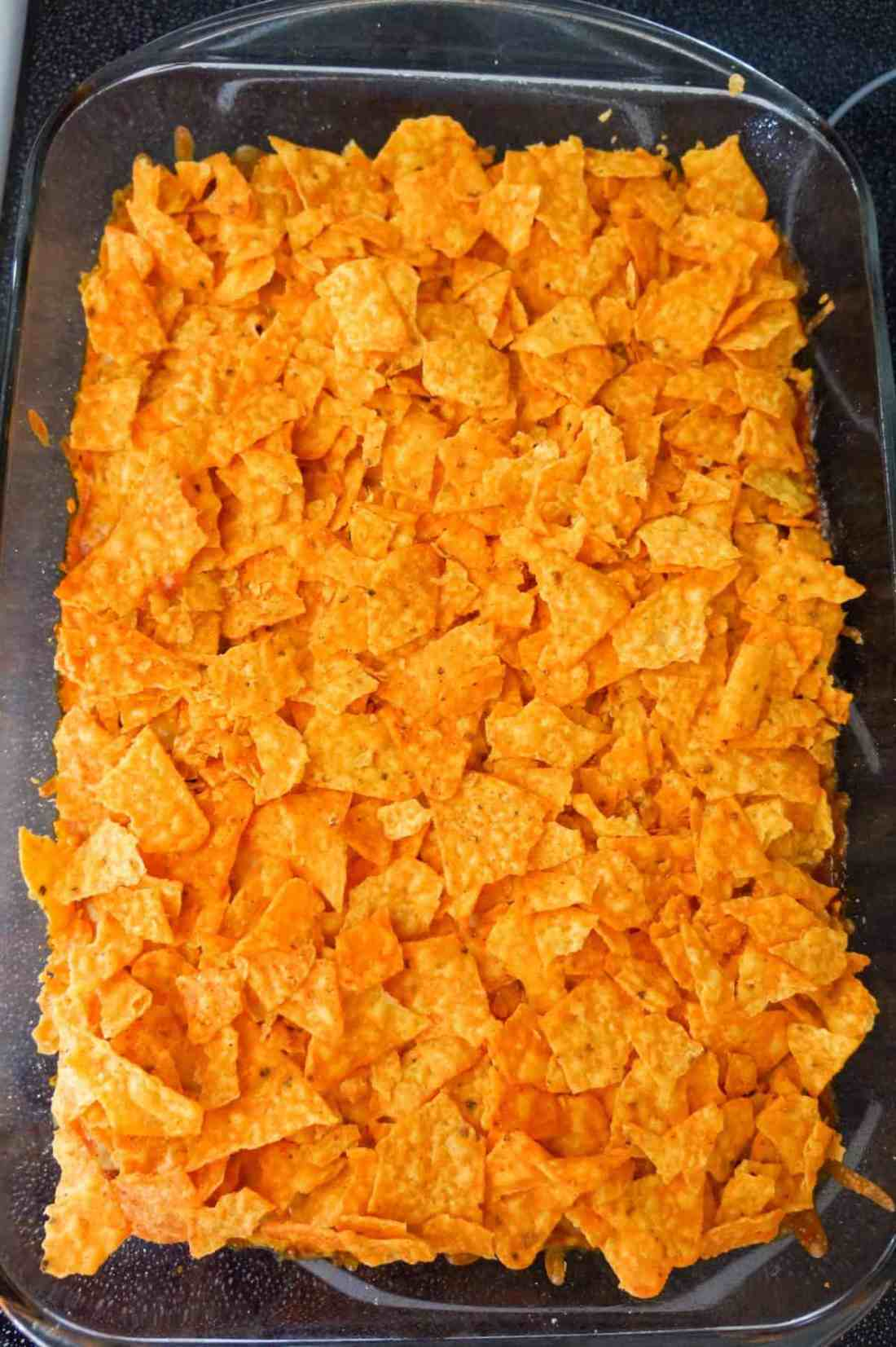 crumbled Doritos on top of chili pie