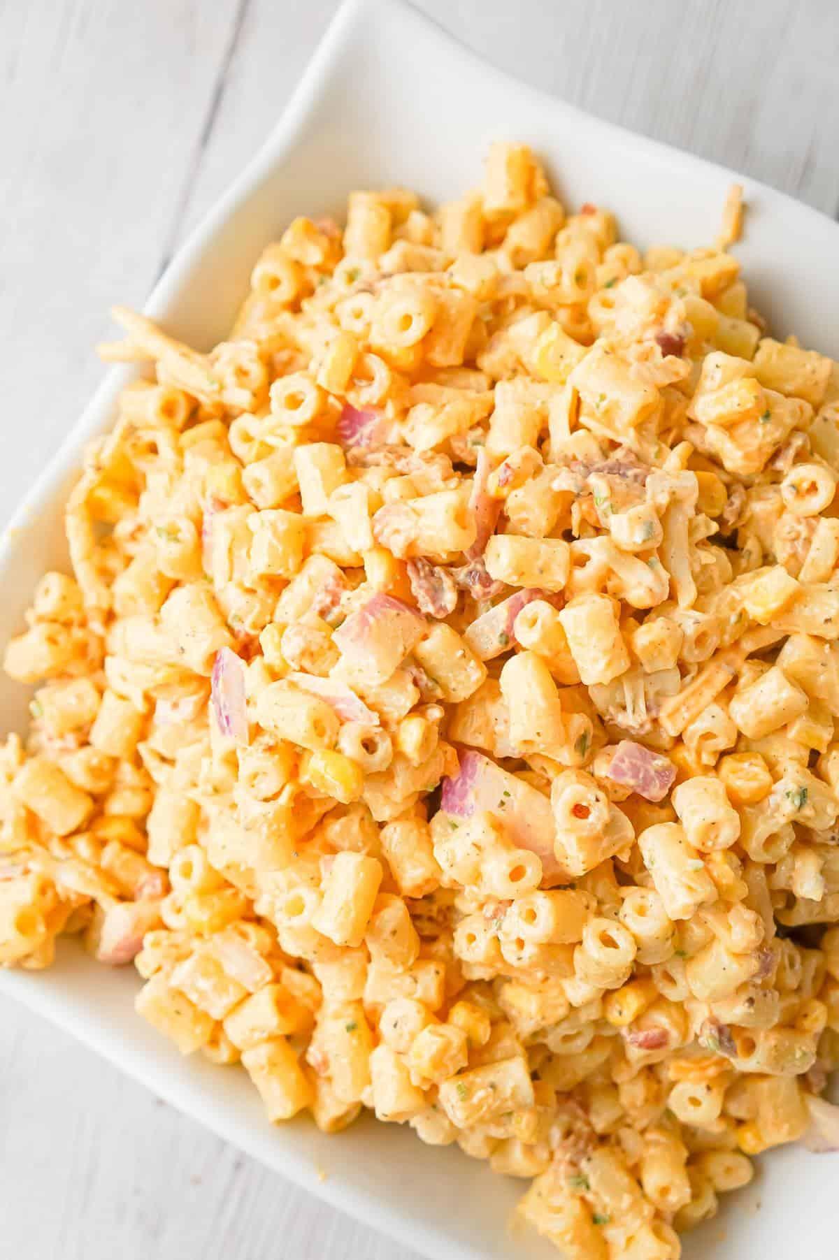 Cajun Macaroni Salad with Corn and Bacon