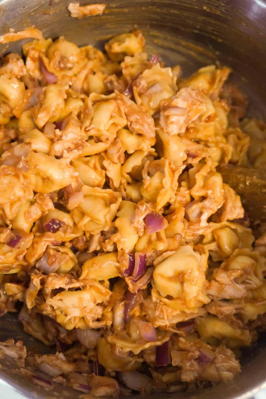 tortellini coated in bbq sauce