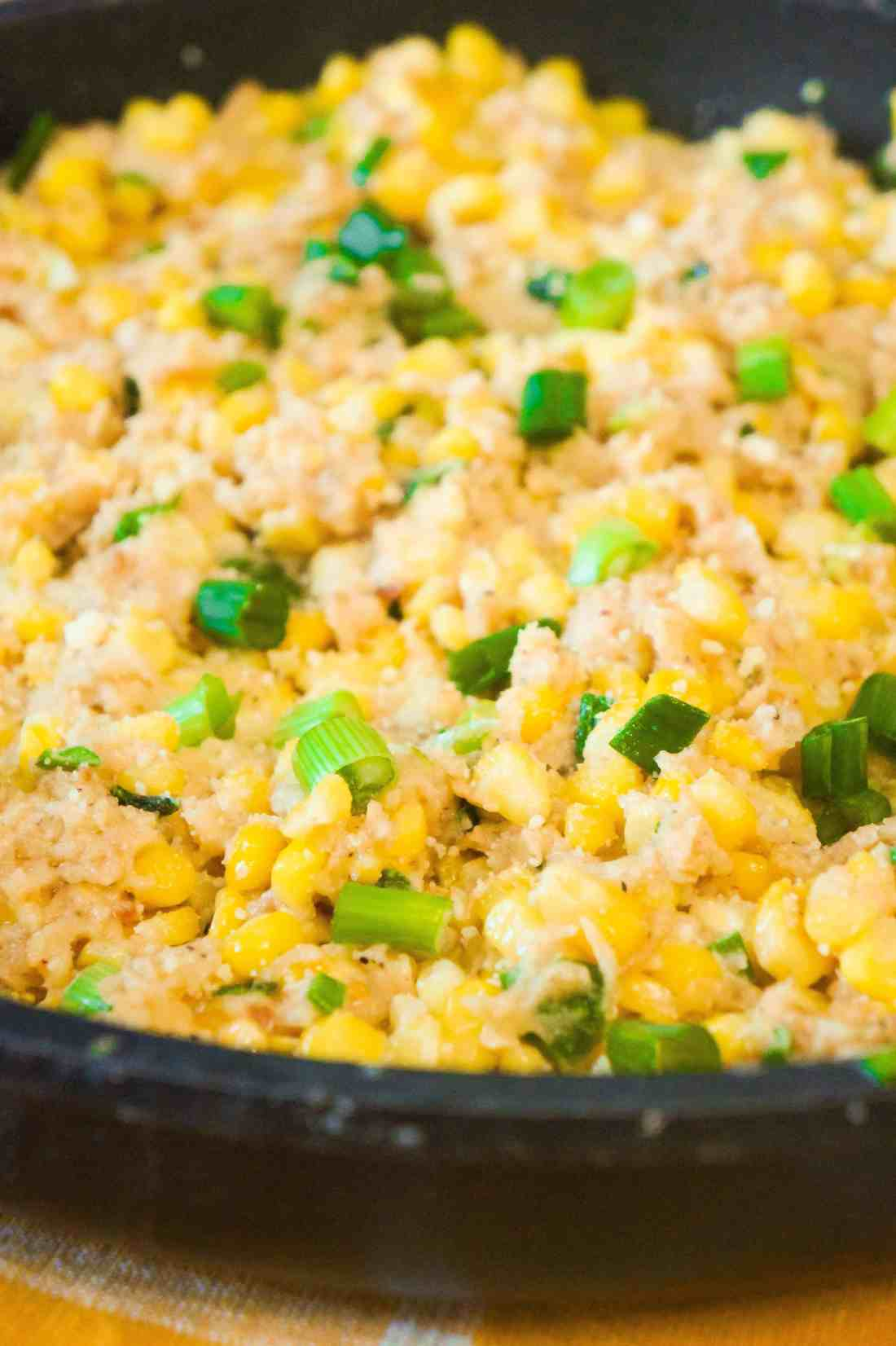 Corn Side Dish loaded with Ritz Cracker crumbs, Swiss cheese and Parmesan.