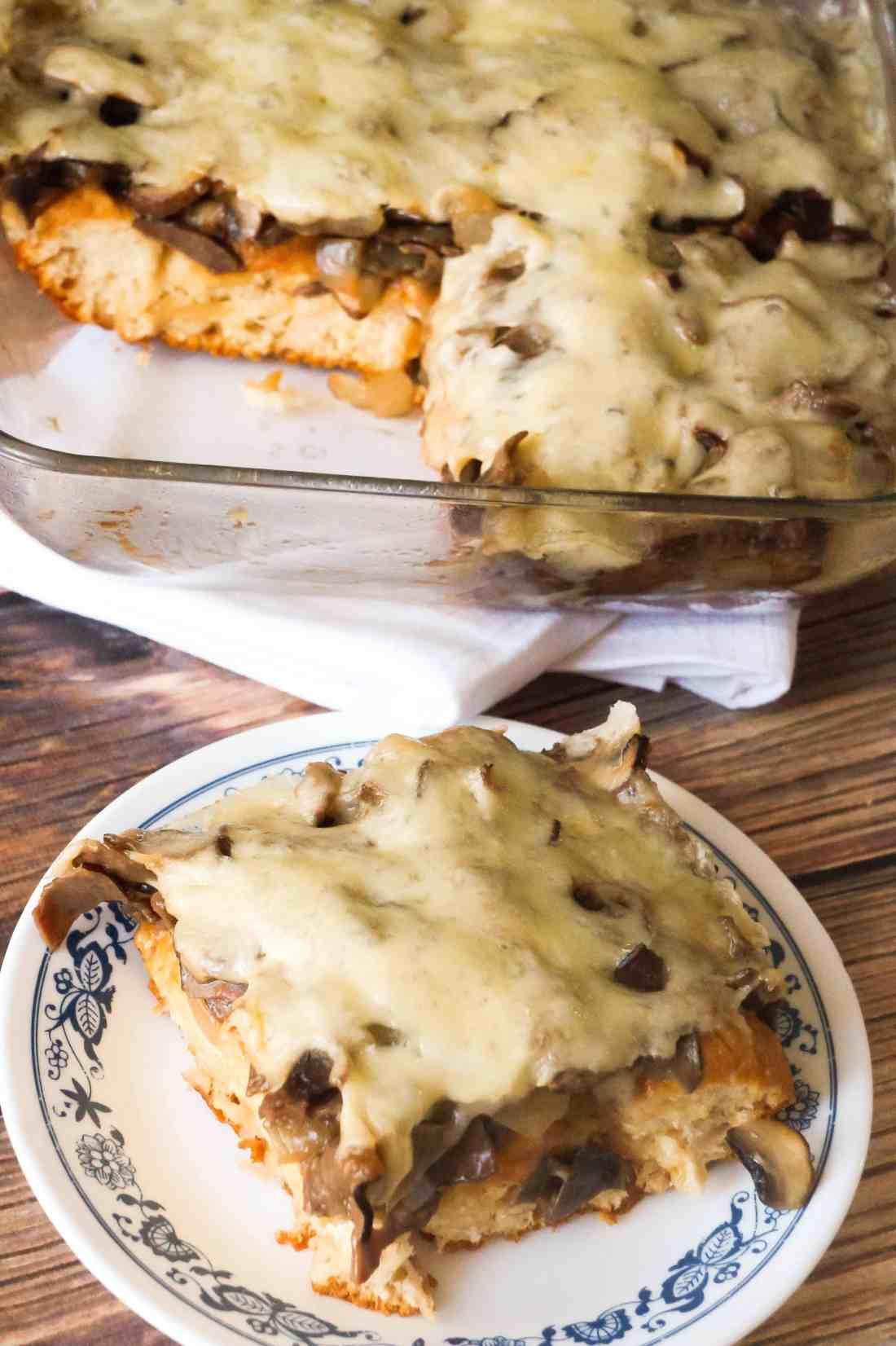 Mushroom Swiss Roast Beef Biscuit Casserole is an easy dinner recipe