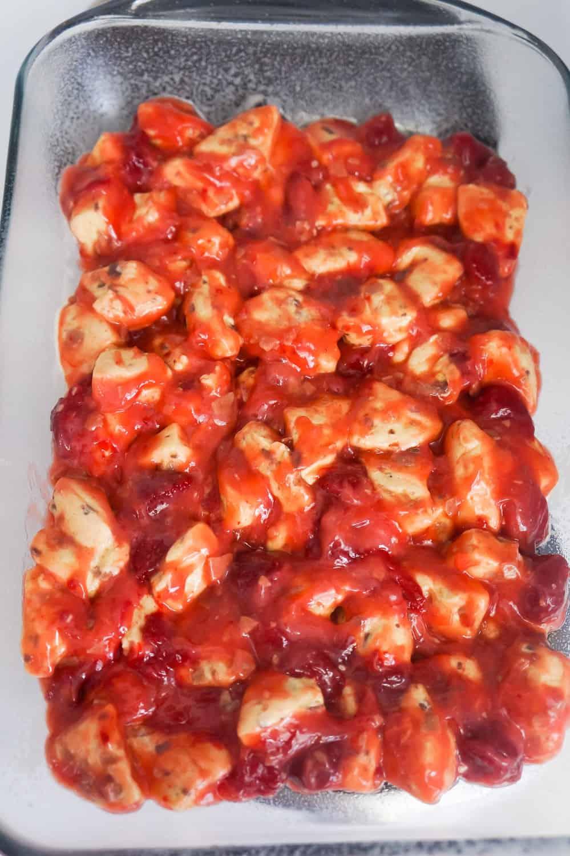 uncooked strawberry cinnamon bun casserole in baking dish