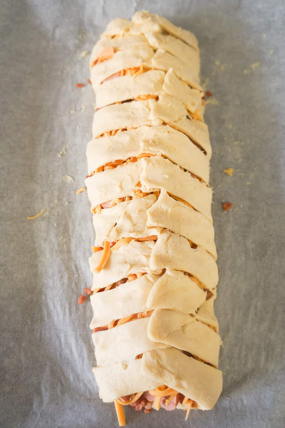 bacon cheese dog crescent braid before baking
