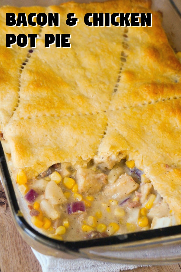 Easy Chicken Dinner Recipe using chicken nuggets and Pillsbury Crescent rolls. This chicken pot pie casserole is loaded with bacon and corn.