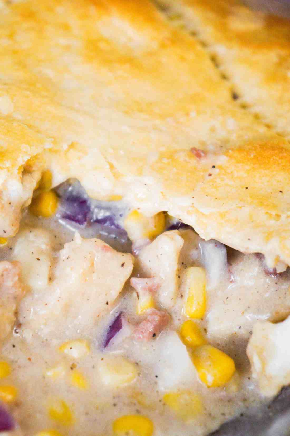 Easy chicken pot pie style casserole. This easy chicken casserole is topped with Pillsbury crescent rolls.