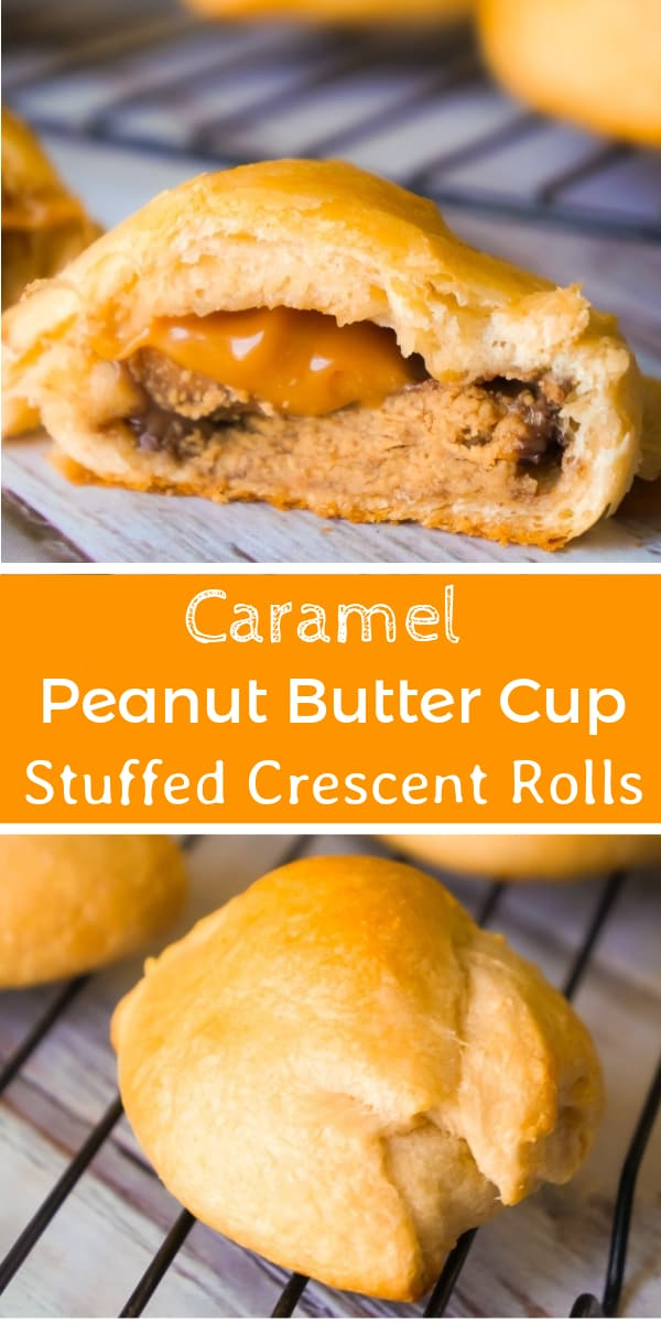 Caramel Peanut Butter Cup Stuffed Crescent Rolls are an easy three ingredient dessert recipe. These Pillsbury crescent rolls are filled with Reese's Peanut Butter Cups and Kraft Caramels.
