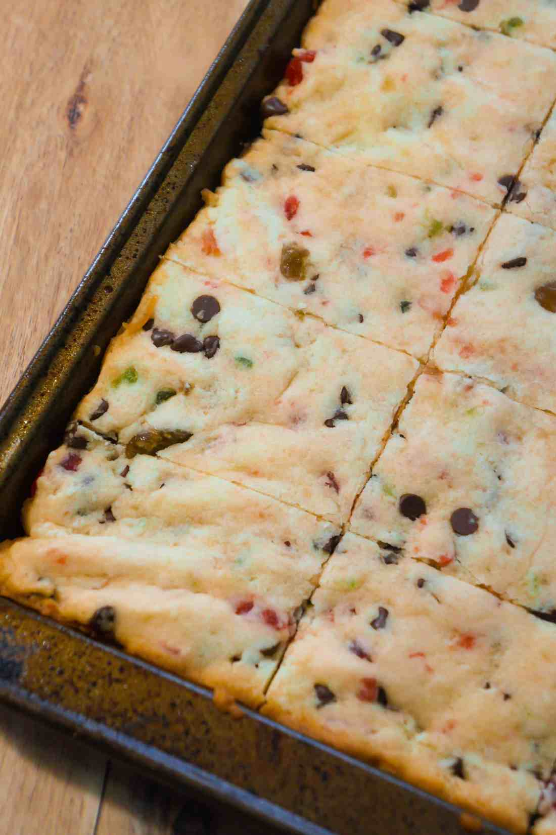 Pan of cherry shortbread cookie bars