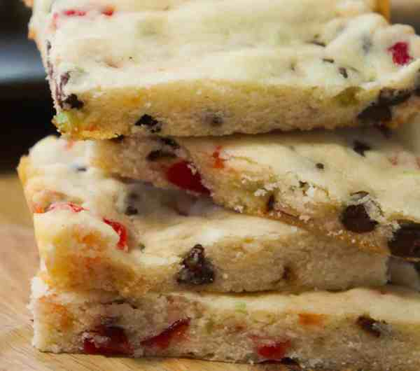 Stacked cherry chocolate chip shortbread cookie bars