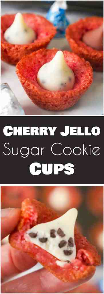 Cherry Jello Sugar Cookie Cups are an easy dessert recipe perfect for Valentine's Day. These mini cookie cups are topped with Hershey's Milk Chocolate Kisses and Cookies and Cream Kisses.