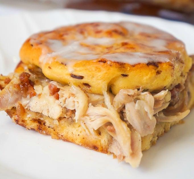 Chicken Bacon Swiss Breakfast Casserole with Cinnamon Rolls