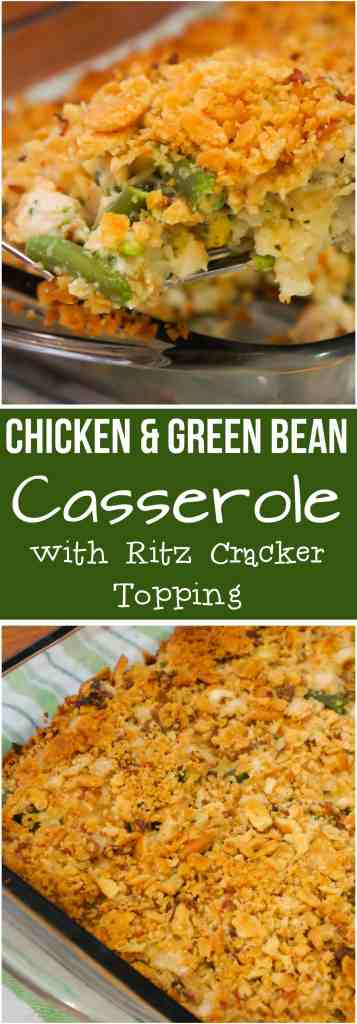 Chicken Green Bean Casserole with a Crispy Ritz Cracker topping. This easy chicken casserole recipe is made with frozen green beans and cream of vegetable soup.