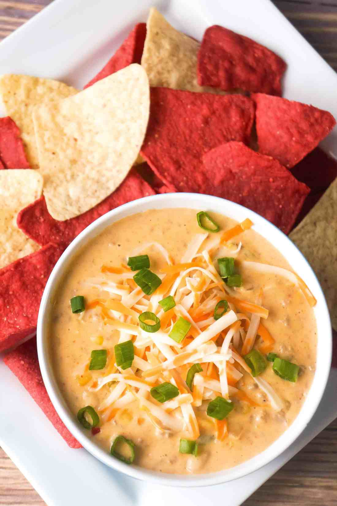 Creamy Ground Chicken Chili with tortilla chips.