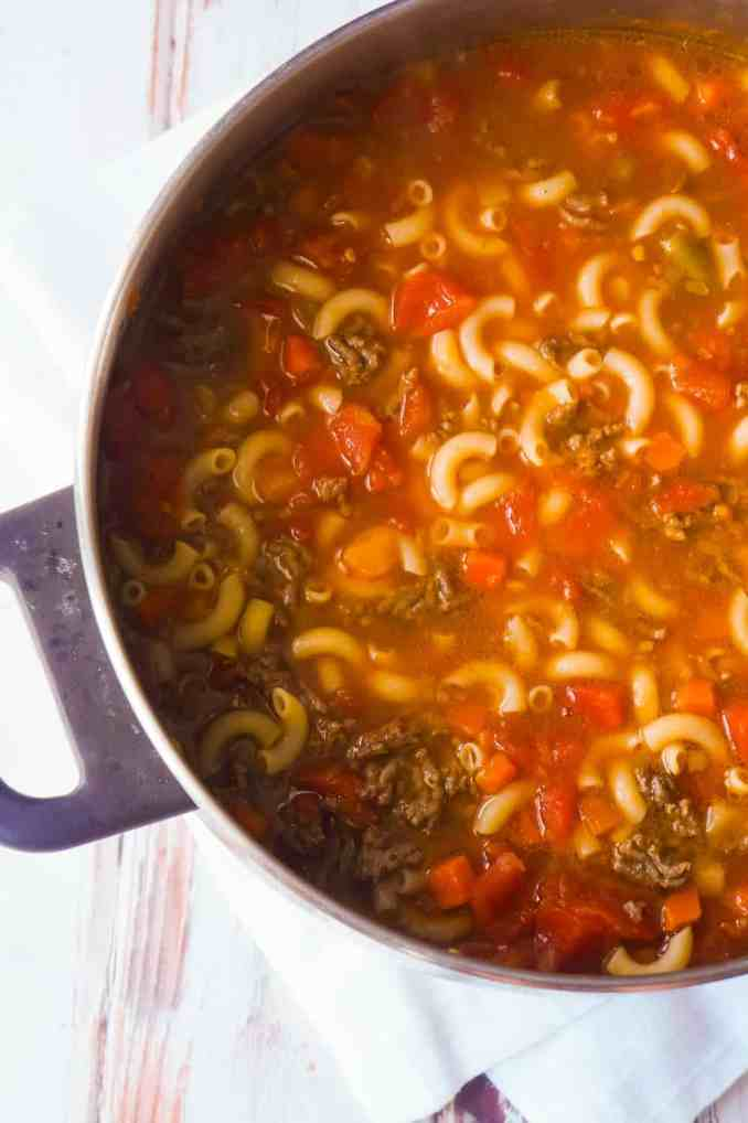 Hamburger Soup with Macaroni - This is Not Diet Food