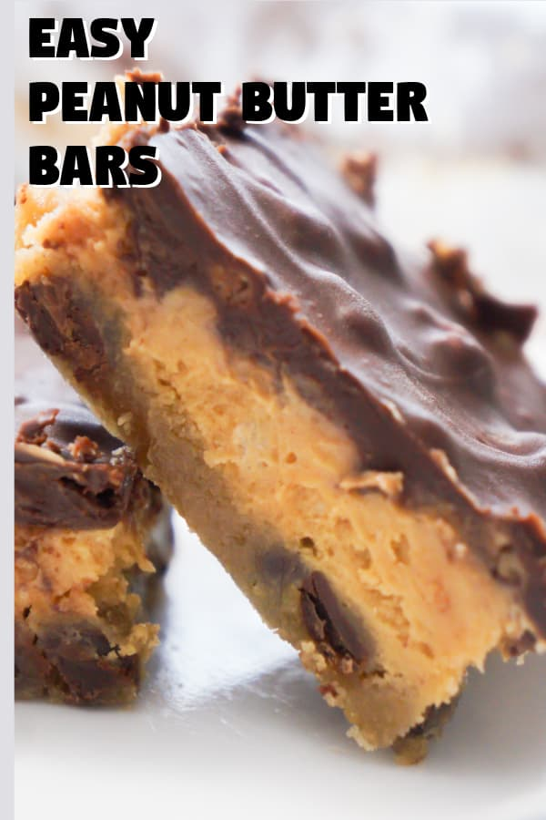 Peanut Butter Bars with a chocolate chip cookie base. Rice Krispies add texture to the peanut butter filling.