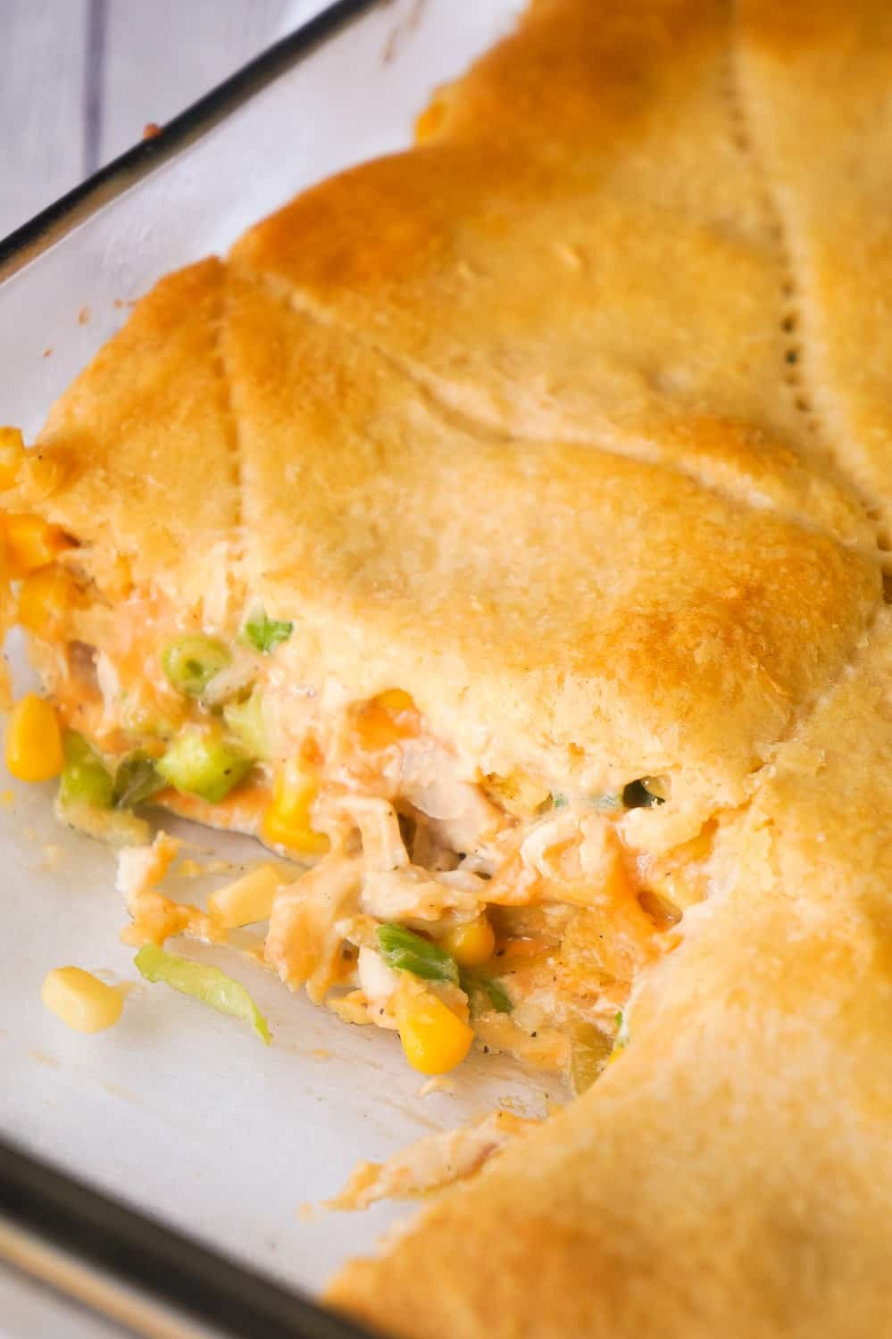 Fritos Chicken Casserole is an easy dinner recipe using precooked rotisserie chicken. This delicious casserole is loaded with shredded chicken, corn chips, green chilies and cheddar cheese then topped with Pillsbury Crescent Roll dough.