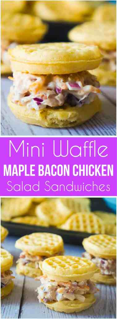 Mini Waffle Maple Bacon Chicken Salad Sandwiches are great party snacks. These mini chicken salad sandwiches would be the perfect finger food for your Superbowl party. The filling is loaded with shredded rotisserie chicken, bacon and cheddar cheese.
