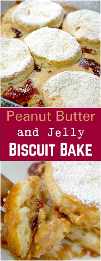 Peanut Butter and Jelly Biscuit Bake. Easy breakfast recipe. Peanut butter and jelly sandwich.