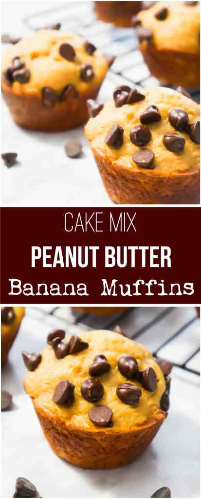 Banana Muffins. These peanut butter banana muffins are made from cake mix and loaded with chocolate chips. This is a super easy breakfast or snack recipe.