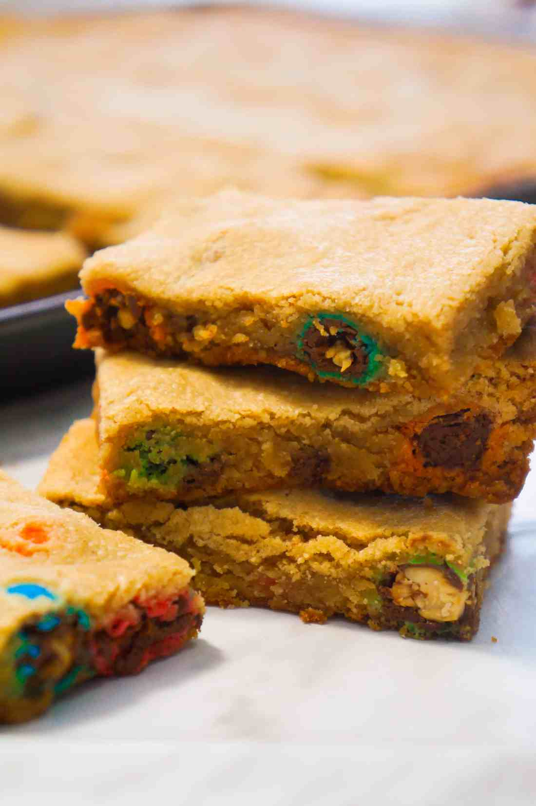 Peanut Butter Cookie Bars with Peanut M&Ms