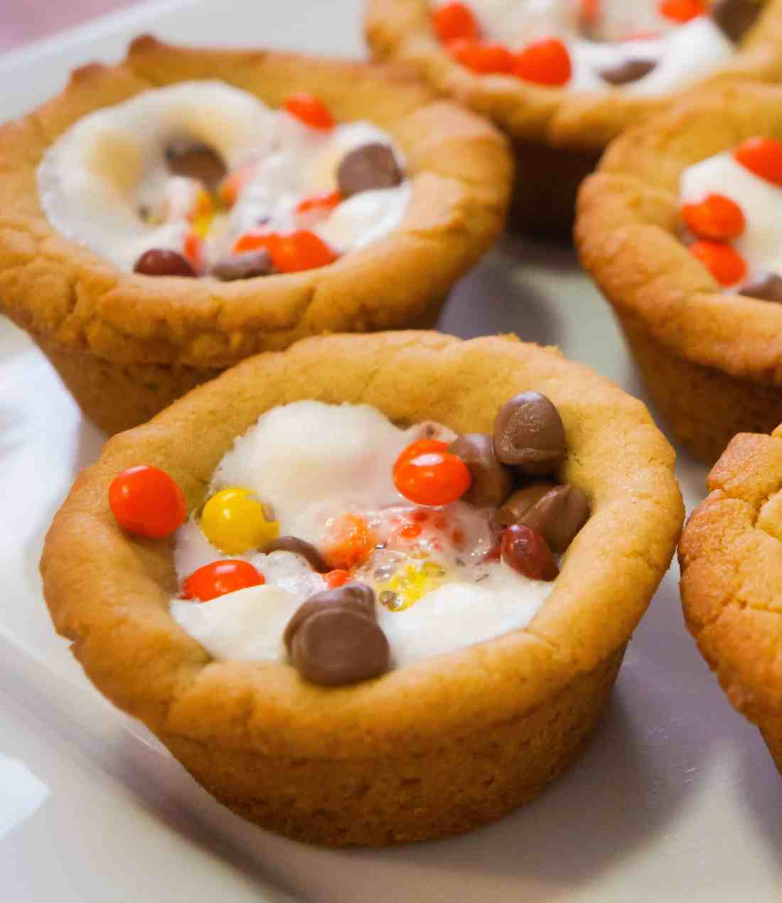 Peanut Butter Cookie Cups with Reese's Pieces