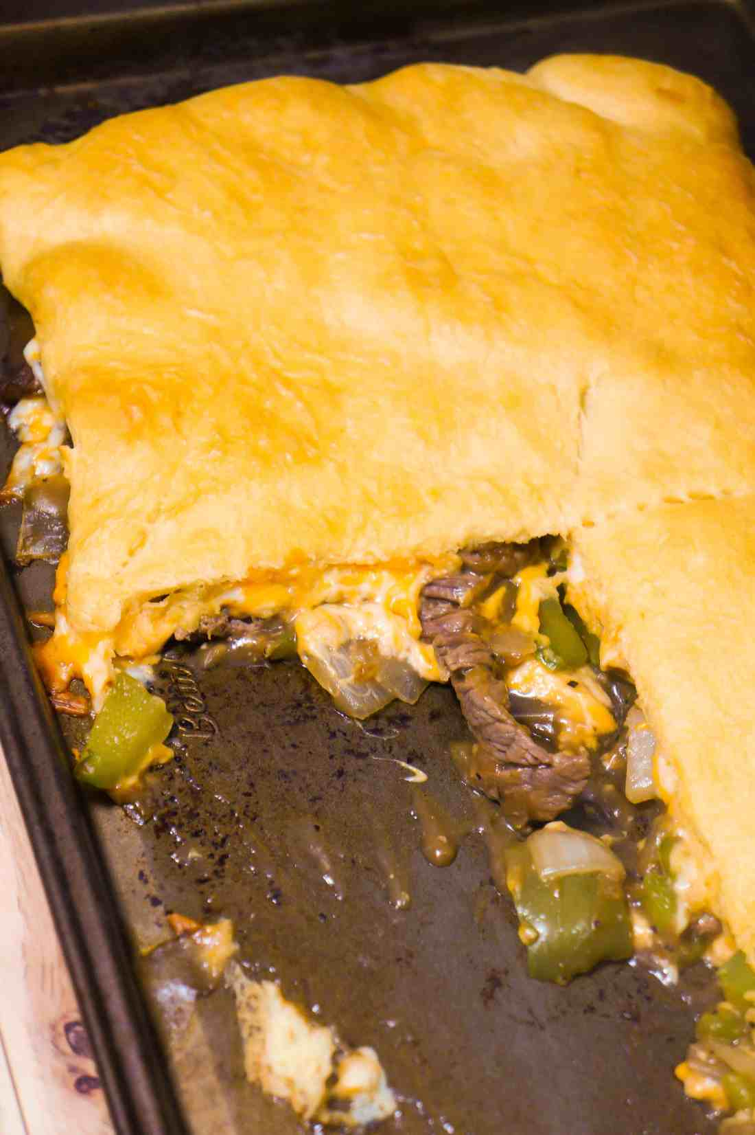 Philly Cheese Steak Crescent bake is an easy beef dinner recipe using Pillsbury crescent roll dough.