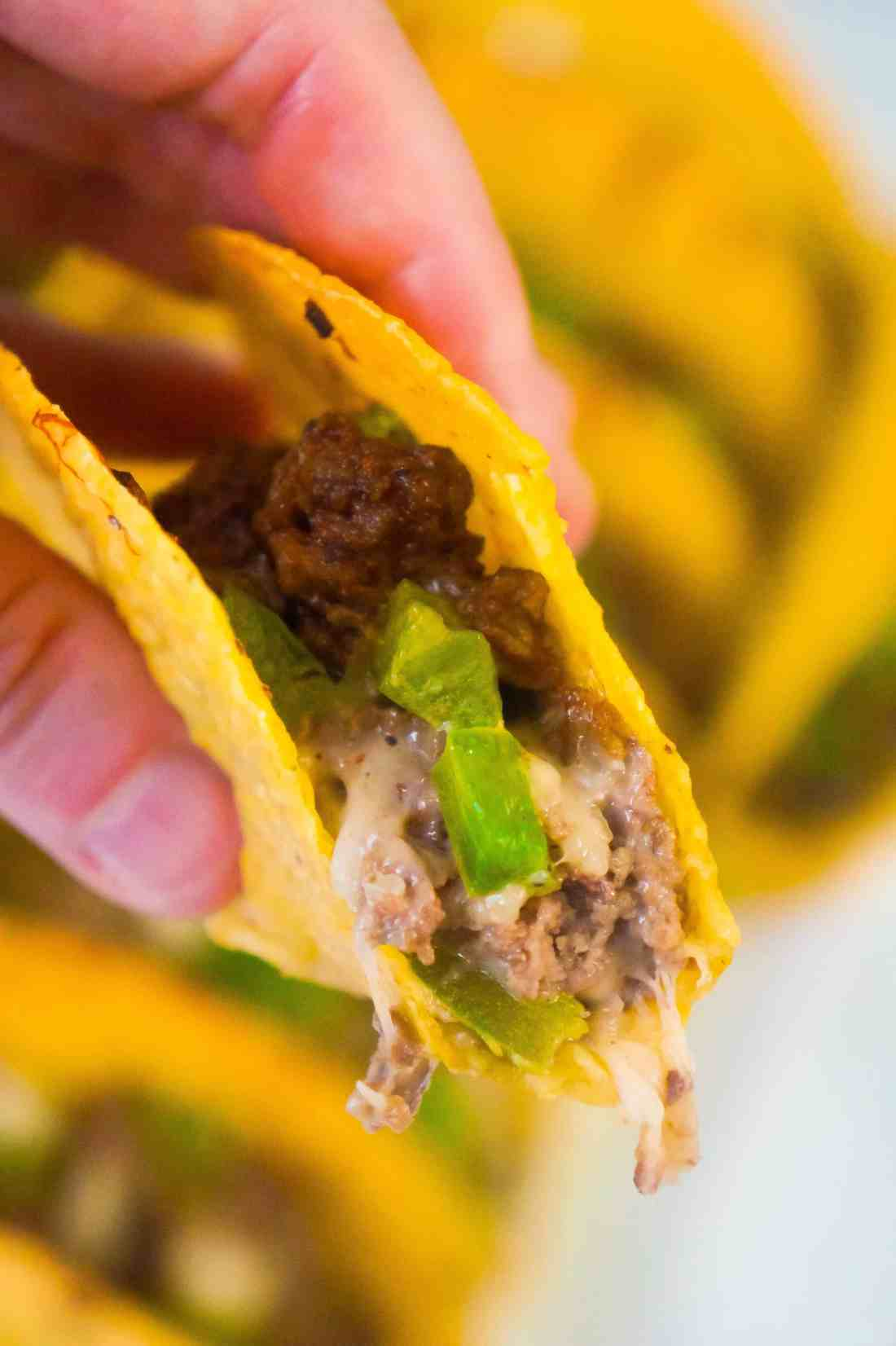 Philly Cheese Steak Tacos are an easy ground beef dinner recipe using Stand and Stuff taco shells.