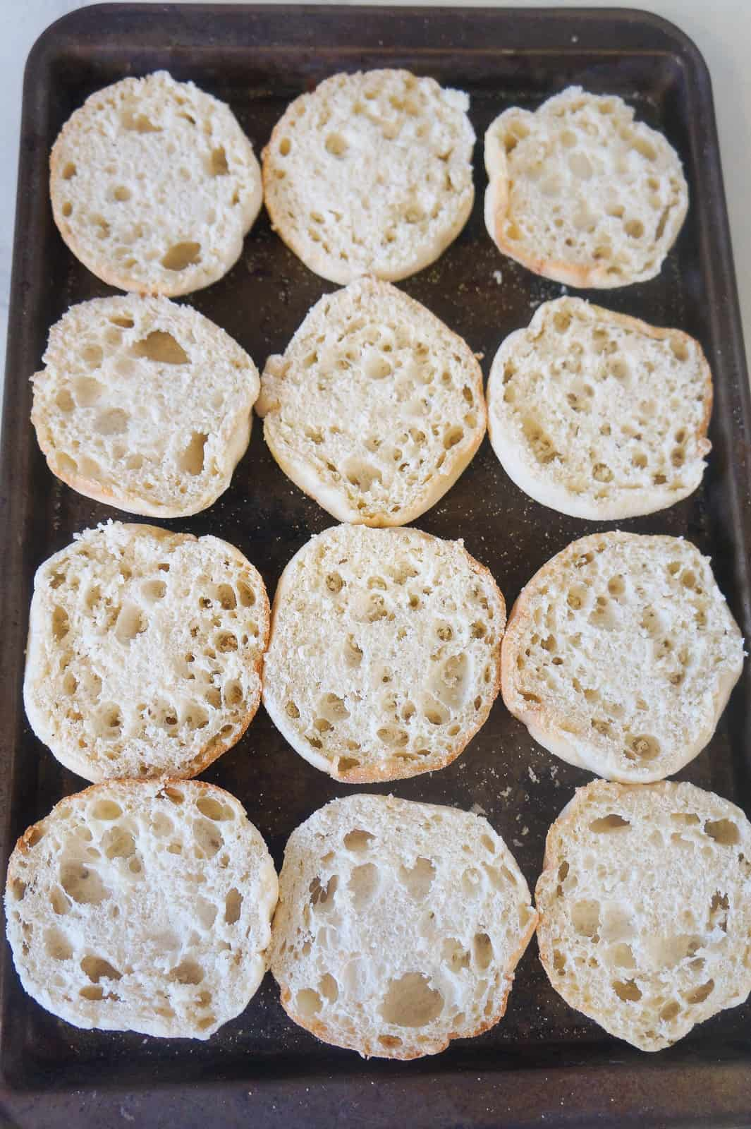 Pizza burger english muffins this is not diet food sliced english muffins on baking sheet forumfinder Image collections