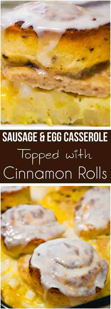 Sausage Egg Breakfast Casserole Topped with Cinnamon Rolls is an easy breakfast recipe perfect for the Christmas holidays. This easy breakfast casserole is loaded with hash browns, egg, sausage and topped with Pillsbury Cinnamon Rolls. This is the perfect brunch recipe.