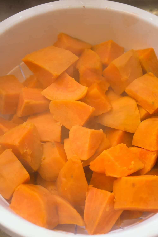 cooked sweet potato chunks