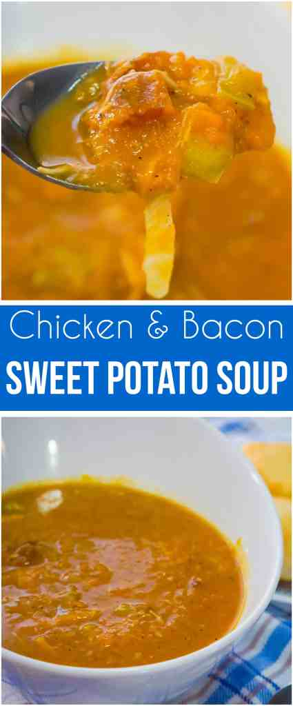 Sweet Potato Chicken & Bacon Soup is a hearty dish perfect for cold weather. This sweet potato soup is loaded with shredded chicken and bacon.