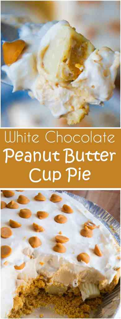 White Chocolate Peanut Butter Cup Pie is an easy no bake dessert recipe. A graham cracker crust is loaded with Reese's mini white chocolate peanut butter cups and white chocolate peanut butter pudding.