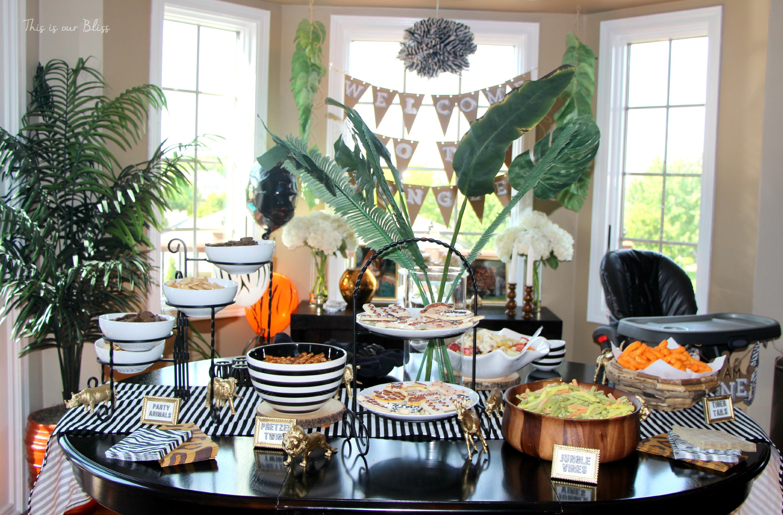 Welcome to the jungle safari jungle birthday party first birthday party party decorations - Deco table jungle ...